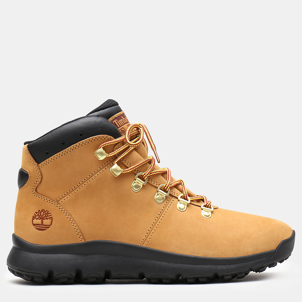 Timberland World Hiker Leather Hiking Boots For Men In Yellow [Size UK 5.5-11.5]