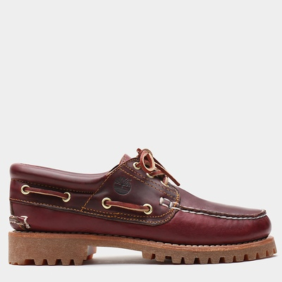 Timberland 3-Eye Classic Lug Boats Shoes For Men In Burgundy [Size UK 5.5-11.5]