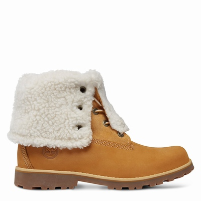 Timberland Authentics 6 Inch Faux Shearling Boots For Kids In Yellow [Size UK 6-2.5]