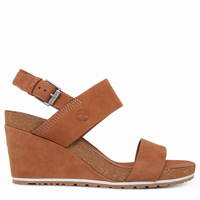 Timberland Capri Sunset Wedge Sandals For Women In Light/Brown [Size UK 3-7.5]