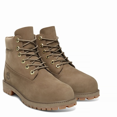 Timberland Premium 6 Inch Boots For Kids In Dark/Beige [Size UK 6-2.5]