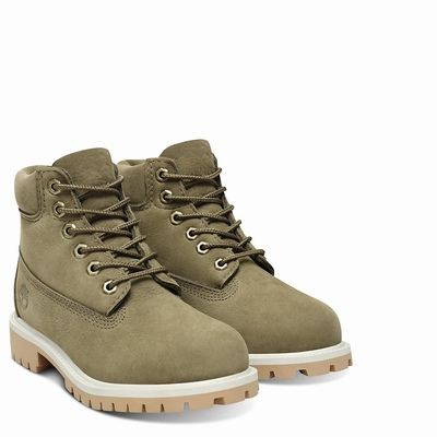 Timberland Premium 6 Inch Boots For Kids In Green [Size UK 6-2.5]